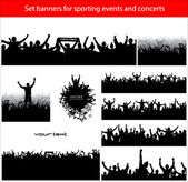 Collection banners for sporting events and concerts — Stock Vector