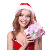 Beautiful sexy girl in Christmas costumes. — Stock Photo