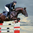 Equestrianism: Young girl in jumping show — Stock Photo #59363047