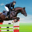 Equestrianism: Young girl in jumping show — Stock Photo #59363073