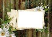 κάρτα για τις διακοπές με λουλούδια στο αφηρημένο φόντο — Φωτογραφία Αρχείου
