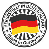 Sign Made in Germany. Hergestellt in Deutschland — Stock Vector
