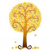 Orange fall tree — Stock Vector