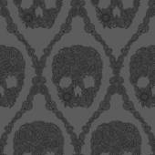 Skulls damask pattern — Stock Vector
