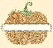Doodle pumpkin tag — Stock Vector