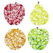 Ornate fruits icons — Stock Vector