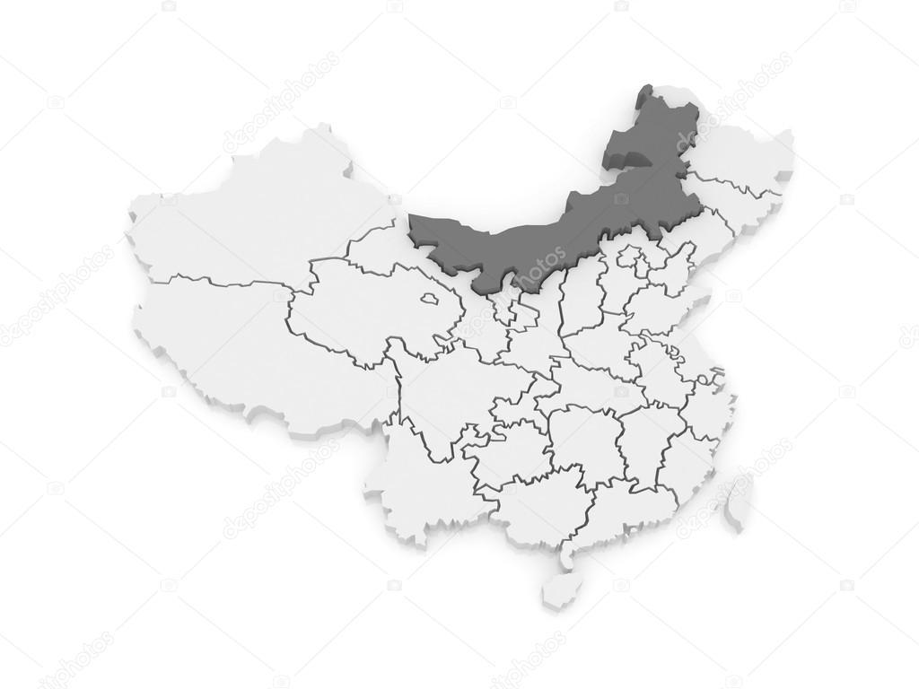 内蒙古地图.中国.3d– 图库图片