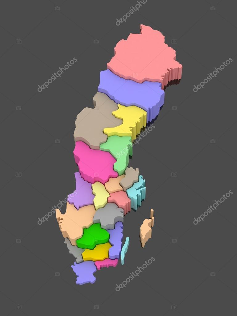 瑞典的三维地图.3d– 图库图片