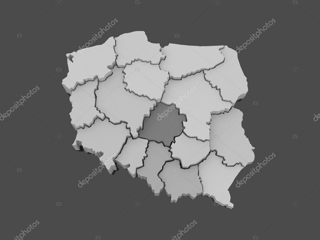 波兰的三维地图.3d– 图库图片