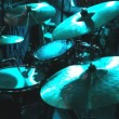 Rock band performing in a nightclub. drummer playing on drum set — Stock Video #54500281