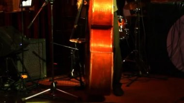 Man playing the contrabass, hand and bow detail close up. — Stock Video