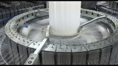 Textile industry - yarn spools on spinning machine in a factory — Stock Video