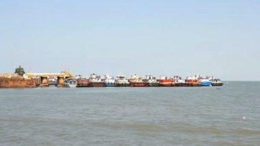 Flottille de pêche commerciale au port — Vidéo