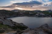 Sea bay at sunset on the island of Mykonos - Agia Anna. Greece.  — Stockfoto