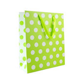 Green polka dot gift bag — Stock Photo