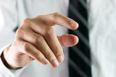 Finger touching virtual interface — Stock Photo