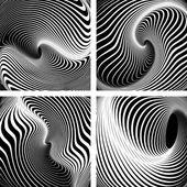 Whirlpool movement. Op art backdrops  set. — Stock Vector