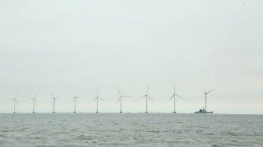 Offshore wind turbines — Stock Video
