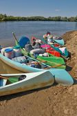 Canoes on the Riverside — Stock Photo