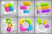 Set of colorful cubes with arrows 3D — Stockvektor