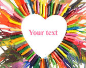 Frame heart from colored pencils — Stock Photo