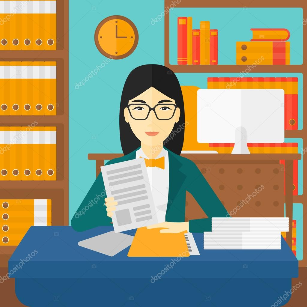 hr manager checking files stock vector copy rastudio  an asian human resources manager reading application portfolios on the background of office vector flat design illustration square layout
