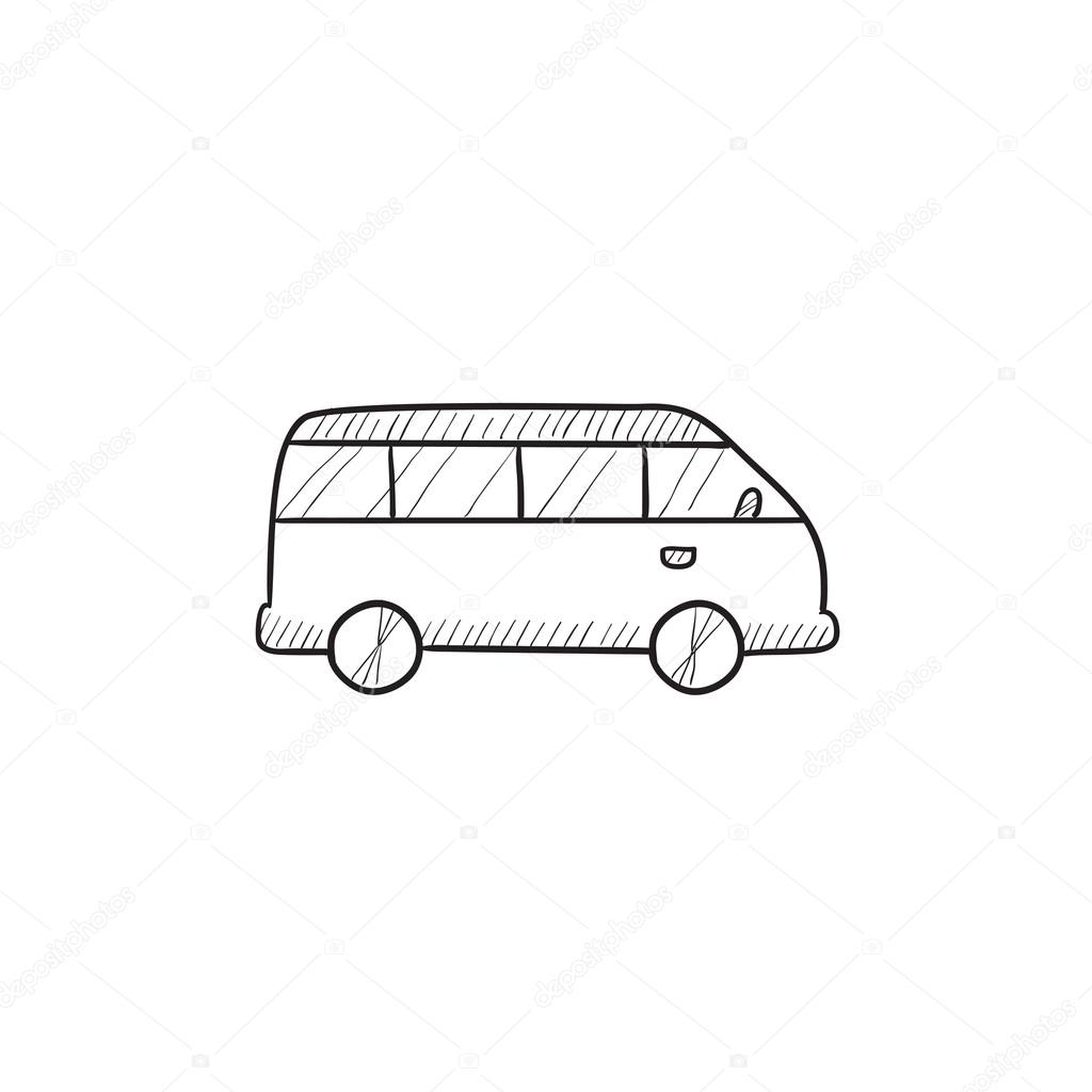 Line Drawing Van : Minibuss skiss ikon — stock vektor rastudio