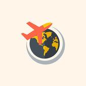 Aircraft. Travel Flat Icon — Stockvektor