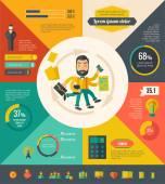 Multitasking Infographic Elements — Stock Vector