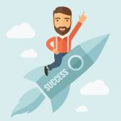Successful Man Flying with a Rocket — Stock Vector