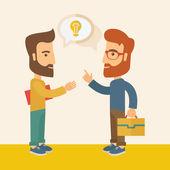 Two men sharing ideas. — Vetor de Stock