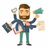 Man doing multitasking — Stock Vector