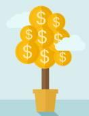 Money plant on a pot. — Stock Vector