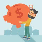 Man with his big piggy bank — Stock Vector