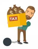 Businessman locked in a debt ball and chain. — Stock Vector