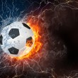 Soccer ball in fire and water — Stock Photo #70313137