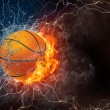 Basketball ball in fire and water — Stock Photo #70314457