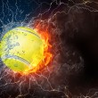 Tennis ball in fire and water — Stock Photo #70316113