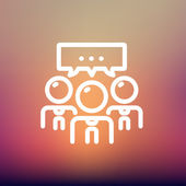 People with chat bubble thin line icon — Wektor stockowy