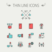Technology thin line icon set. — Stock Vector