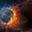 Speedometer on fire and water — Stock Photo #70622965