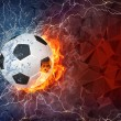 Soccer ball in fire and water — Stock Photo #70692927