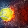 Tennis ball in fire and water — Stock Photo #70697167