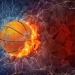 Basketball ball in fire and water — Stock Photo #70697405