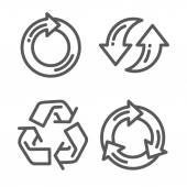 Set of recycle arrow thin line icon — Stock Vector