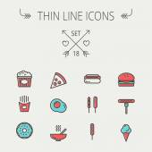 Food and drink thin line icon set — Stock Vector