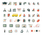 Set of school and education flat icons — Stock Vector