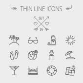 Travel thin line icon set — Stock Vector