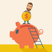 Big piggy bank with ladder — Stock Vector