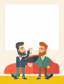 Man handed a key to other man — Stock Vector